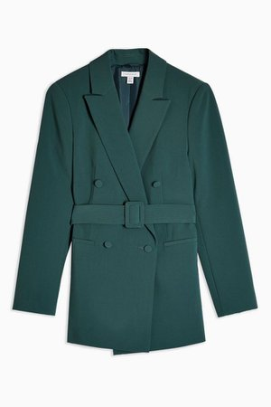 Green Belted Double Breasted Blazer | Topshop