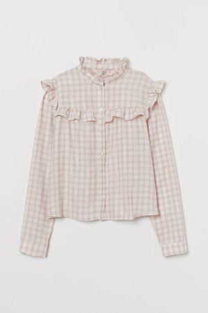 Ruffle-trimmed Blouse - Pink