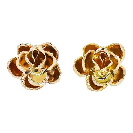 Ming's of Hawaii 3D 14 Karat Yellow Gold Rose Earrings