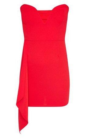 Red V Bar Drape Detail Bandeau Bodycon Dress | PrettyLittleThing USA