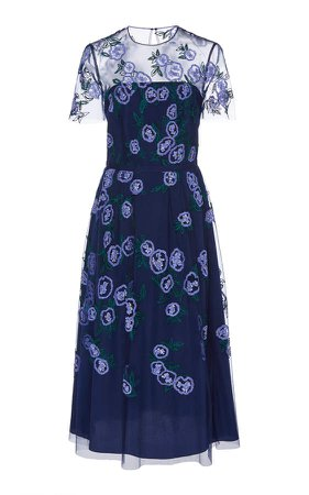 Sequined Sheer-Paneled Organza Midi Dress