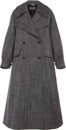 Alberta Ferretti Double-Breasted Wool Trench Coat