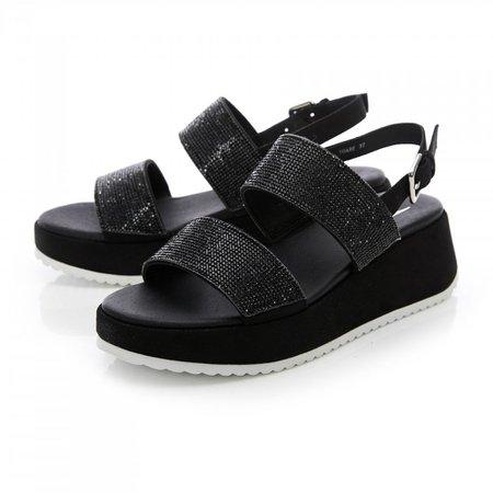 black sandals moda in pelle