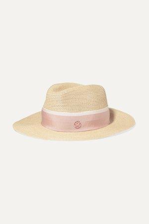 Pink Henrietta grosgrain-trimmed straw hat | Maison Michel | NET-A-PORTER