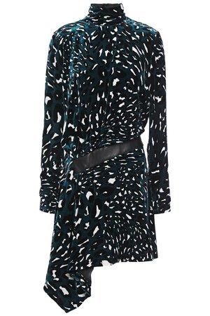 Petrol Draped leather-trimmed printed velvet mini dress | ALEXANDRE VAUTHIER |