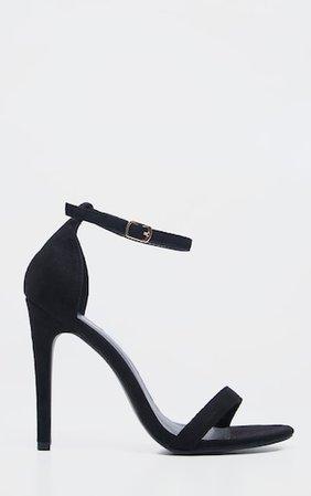 Clover Black Strap Heeled Sandals | PrettyLittleThing USA
