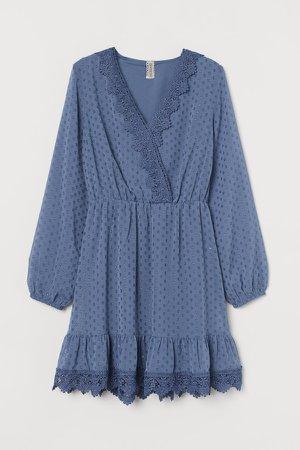 Lace-detail Plumeti Dress - Blue