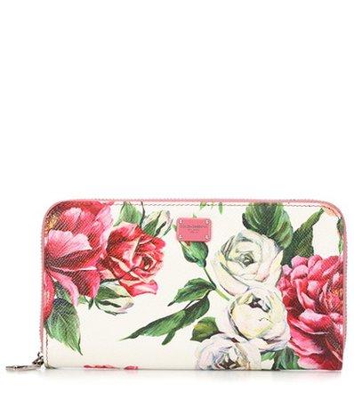 Rose leather zip wallet