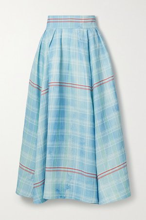 Pleated Checked Linen Midi Skirt - Blue
