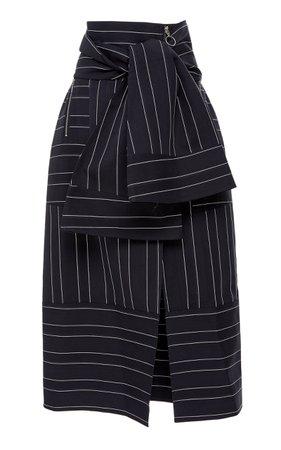 Acler Knightley Tied Waist Cotton Midi Skirt