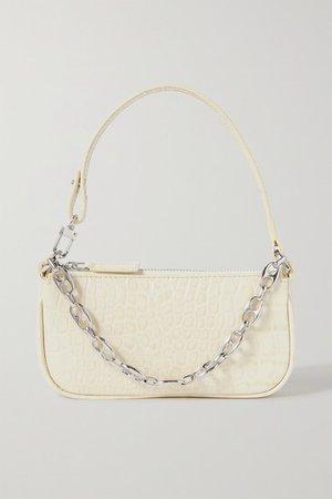 Rachel Mini Chain-embellished Croc-effect Leather Shoulder Bag - Cream