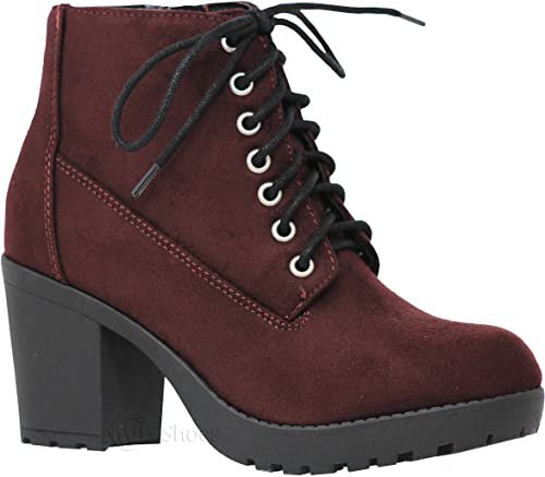 Amazon.com | MVE Shoes Women's Block Heel Lace Up Side Zipper Ankle Boots, Second TOB IMSU 9 | Ankle & Bootie