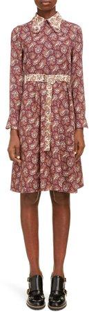 Long Sleeve Paisley Silk Dress