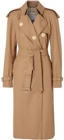 Press-stud Detail Cotton Gabardine Trench Coat