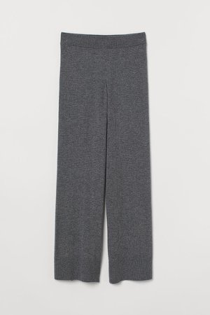 Wide-leg Cashmere Pants - Gray