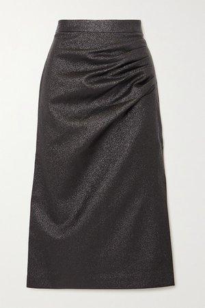Brillare Gathered Metallic Crepe Midi Skirt - Black