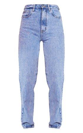 Mid Blue Acid Wash High Waist Straight Leg Jeans | PrettyLittleThing USA