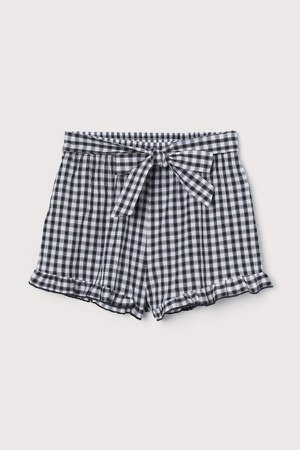 Tie-front Shorts - Black