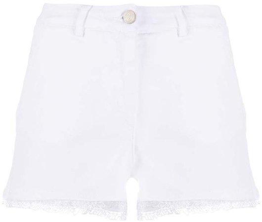 High Rise Embroidered Hem Shorts