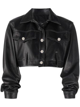 Manokhi Cropped Leather Jacket - Farfetch
