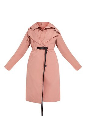 Pink Elastic Belted Trench   Coats & Jackets   PrettyLittleThing USA