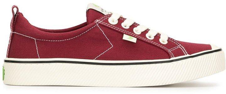 OCA Low Stripe Burgundy Red Canvas Sneaker