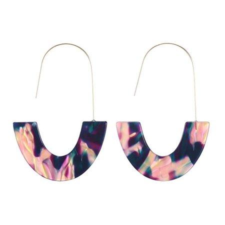 Acrylic Drop Earrings, Tortoise Shell Print Resin Statement Gold Hook Earrings (Blue): Jewelry