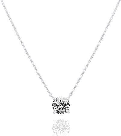 Amazon.com: PAVOI 14K Gold Plated Swarovski Crystal Solitaire 1.5 Carat (7.3mm) CZ Dainty Choker Necklace | Yellow Gold Necklaces for Women: Jewelry