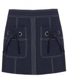 WornOnTV: Clem's navy tie neck top and mini skirt with white stitching on Fam   Nina Dobrev   Clothes and Wardrobe from TV