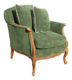 (21) Pinterest - Vintage French Louis XV Style Forest Green Velvet Arm Chair on Chairish.com | Home Things