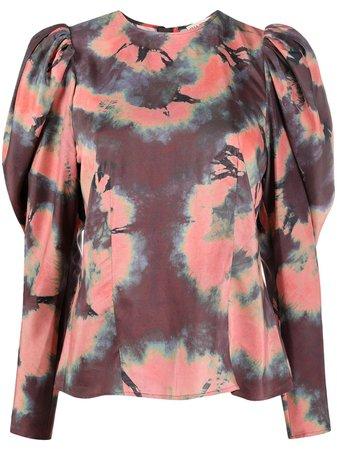 Ulla Johnson Tie dye-print puff-sleeved Silk Blouse - Farfetch