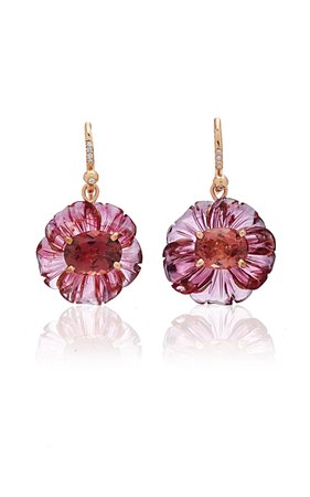 One-Of-A-Kind 18K Rose Gold Pink Tourmaline Carved Flowers Earrings by Irene Neuwirth | Moda Operandi