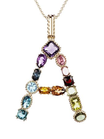 Dolce & Gabbana 18kt yellow gold initial A gemstone necklace