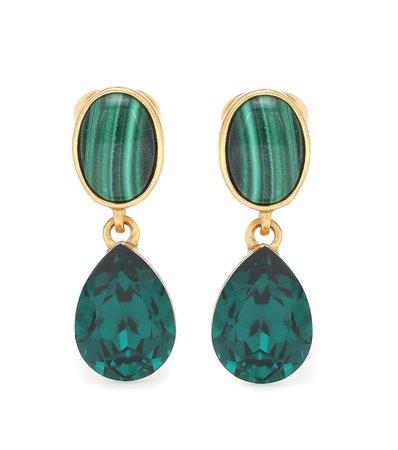 Oscar de la Renta - Gold-plated clip-on earrings with malachites | Mytheresa
