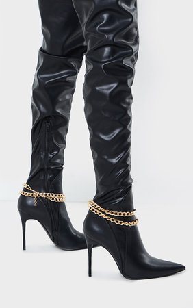 Black Matte Chain Over The Knee High Heeled Boots   PrettyLittleThing