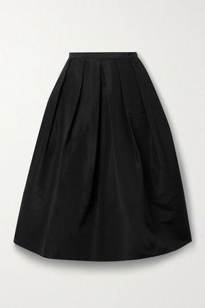 Pleated Silk-faille Midi Skirt - Black