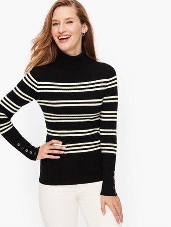 Button Cuff Ribbed Turtleneck Sweater - Stripe | Talbots