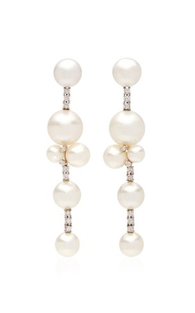 18K White Gold Earrings set with South Sea, Akoya Pearls and Diamonds by Irene Neuwirth | Moda Operandi