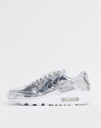 Nike Air Max 90 Liquid Metal sneakers in silver | ASOS