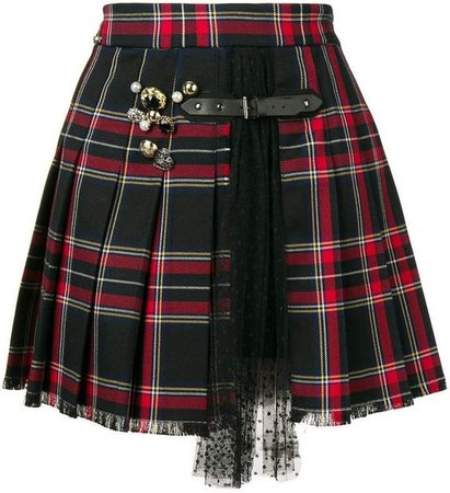 Liu Jo embellished tartan pleated skirt