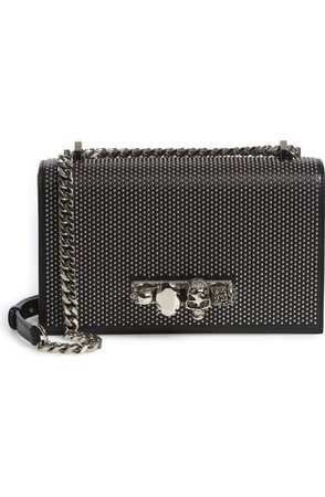 Alexander McQueen Jeweled Studded Leather Crossbody Bag | Nordstrom