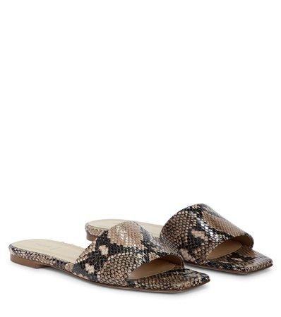 Aeydē - Anna snake-effect leather sandals   Mytheresa