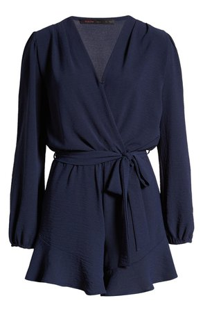 Fraiche by J Flaired Tie Waist Long Sleeve Romper   Nordstrom