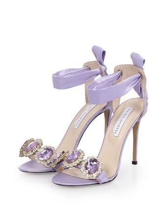Purple rhinestone heels