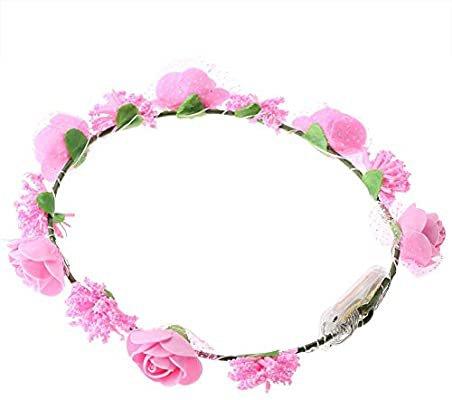 Amazon.com: Flower Crown, Durable LED Rose Flowers Lights Fairy Lighting Hair Wreath Light Up Flower Crown(pink): Beauty
