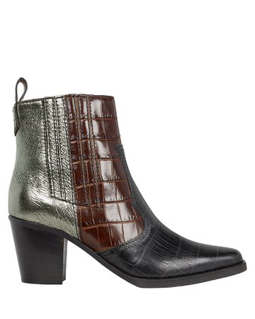 Western Colorblock Leather Ankle Boots