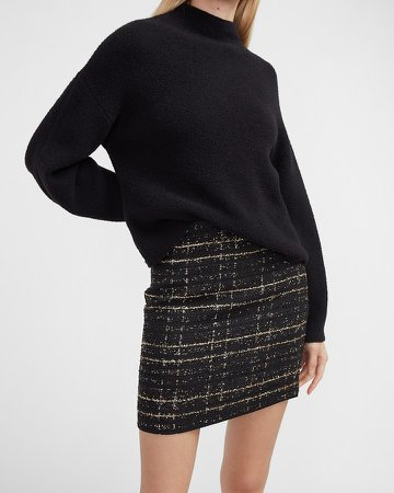 High Waisted Metallic Textured Tweed Mini Skirt