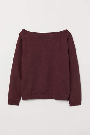 Boat-neck Sweatshirt - Red