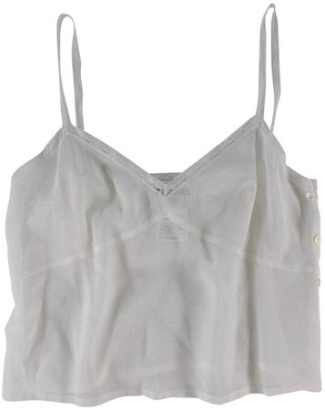 Chanel White Sleeveless Sheer Cropped Camisole Blouse Tank Top/Cami Size 10 (M) - Tradesy