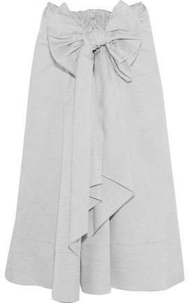 Bow-embellished Cotton Midi Skirt